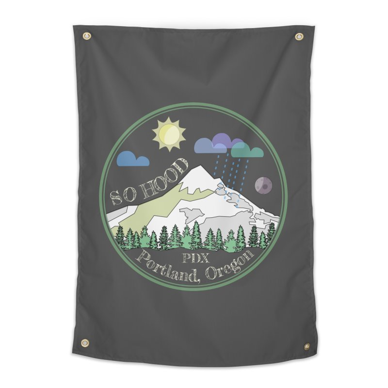 Mt. Hood [Day, transparent background, light text] Home Tapestry by Northern Limit