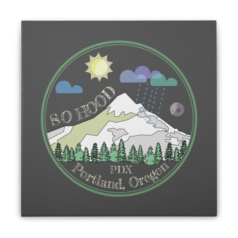 Mt. Hood [Day, transparent background, light text] Home Stretched Canvas by Northern Limit