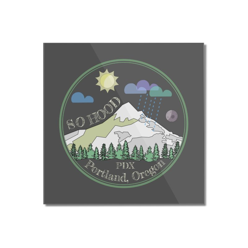 Mt. Hood [Day, transparent background, light text] Home Mounted Acrylic Print by Northern Limit