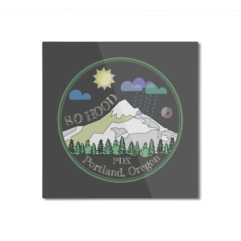 Mt. Hood [Day, transparent background, light text] Home Mounted Aluminum Print by Northern Limit
