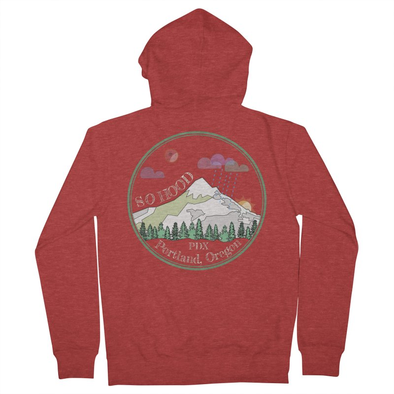 Mt. Hood [Night, transparent background, light text] Women's French Terry Zip-Up Hoody by Northern Limit