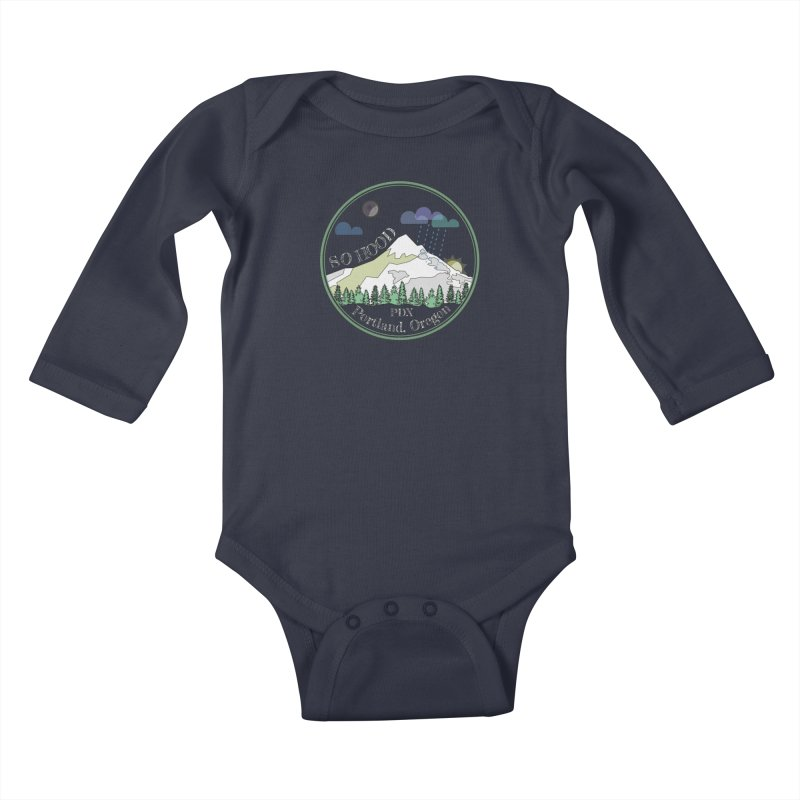 Mt. Hood [Night, transparent background, light text] Kids Baby Longsleeve Bodysuit by Northern Limit