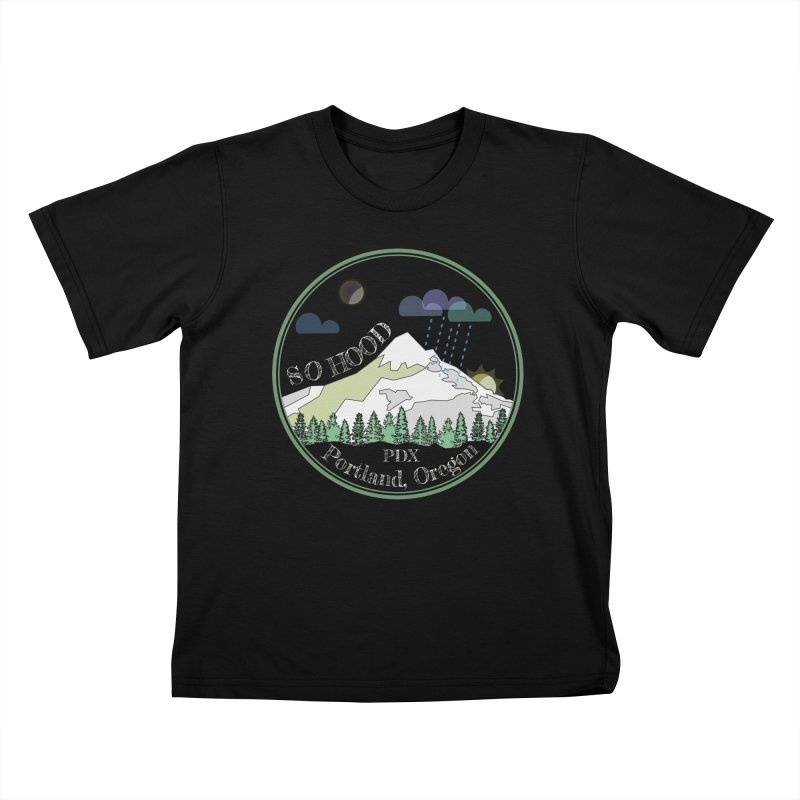 Mt. Hood [Night, transparent background, light text] Kids T-Shirt by Northern Limit