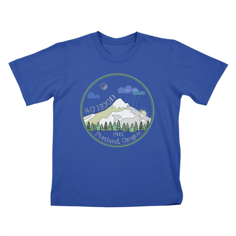 Mt. Hood [Night, transparent background, light text] Kids T-Shirt by Northern Limit