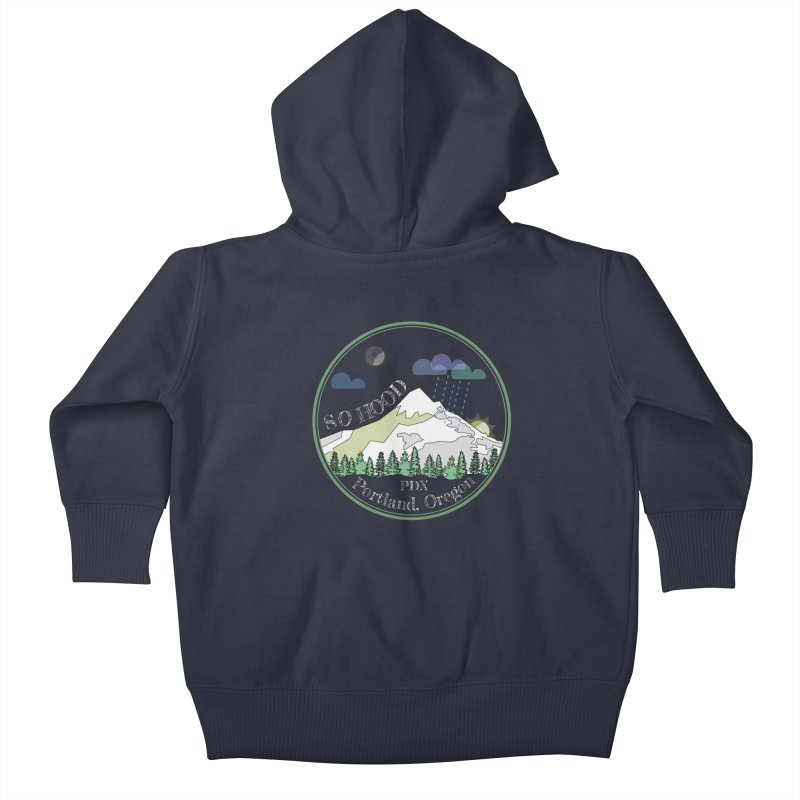 Mt. Hood [Night, transparent background, light text] Kids Baby Zip-Up Hoody by Northern Limit