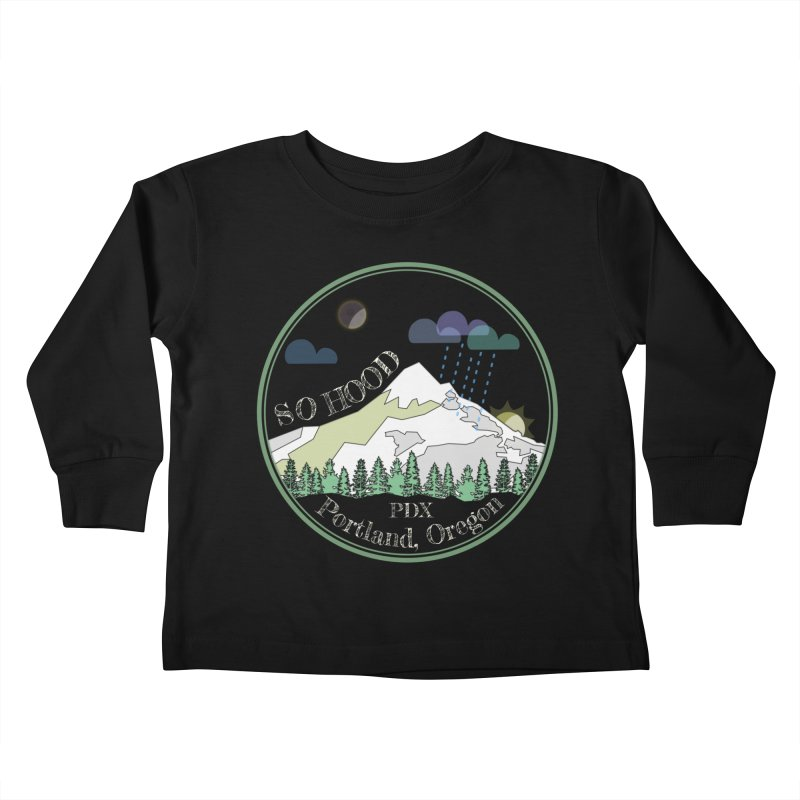 Mt. Hood [Night, transparent background, light text] Kids Toddler Longsleeve T-Shirt by Northern Limit