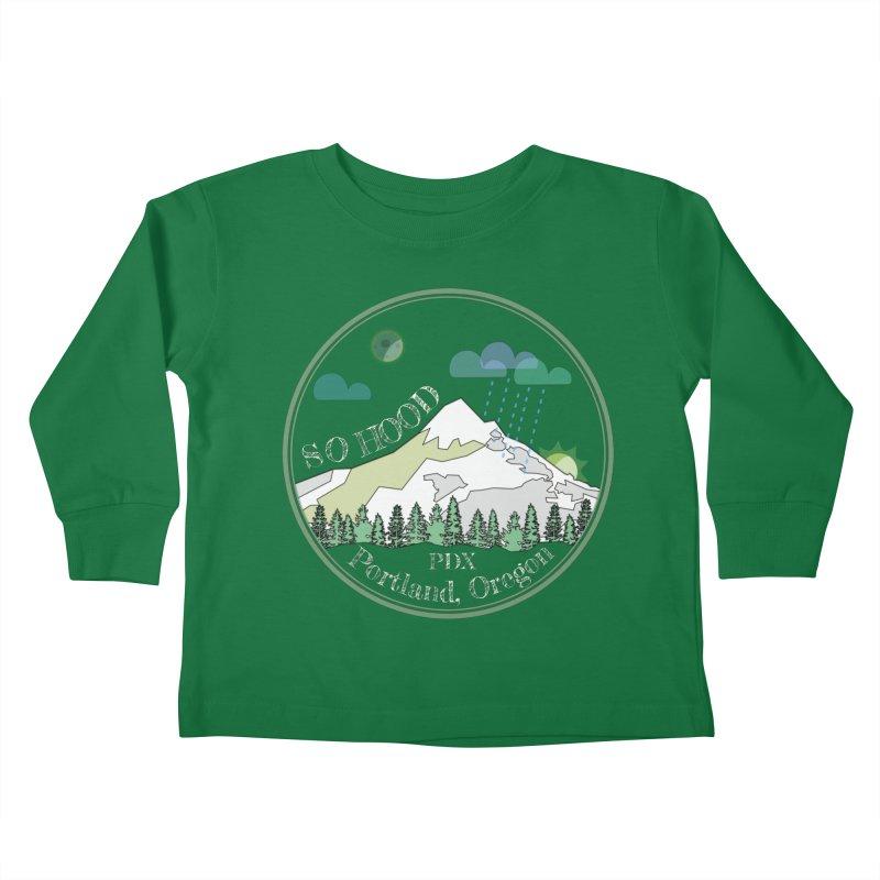 Mt. Hood [Night, transparent background, light text] Kids Toddler Longsleeve T-Shirt by Northern Limit