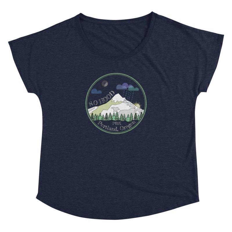 Mt. Hood [Night, transparent background, light text] Women's Dolman by Northern Limit