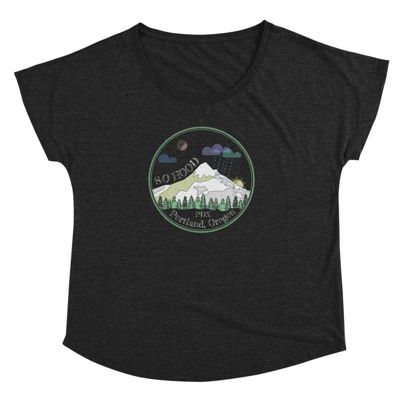 Mt. Hood [Night, transparent background, light text] Women's Dolman Scoop Neck by Northern Limit