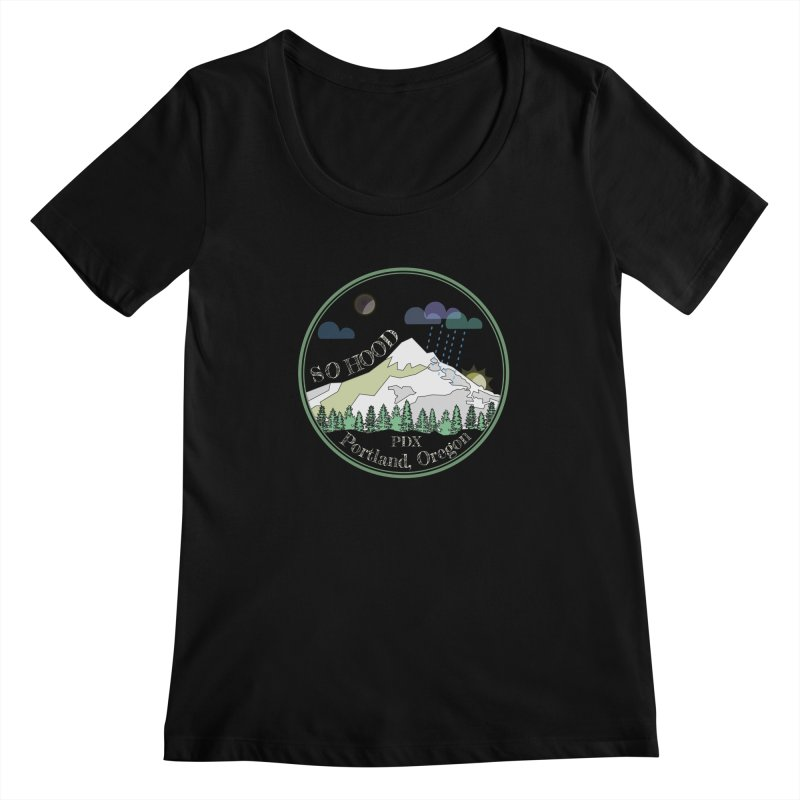 Mt. Hood [Night, transparent background, light text] Women's Scoopneck by Northern Limit