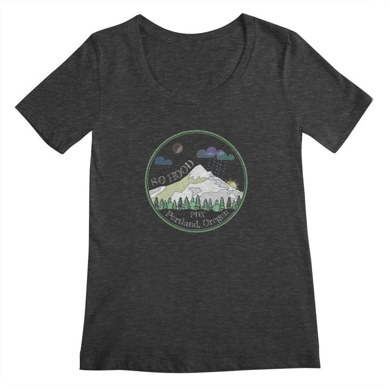 Mt. Hood [Night, transparent background, light text] Women's Regular Scoop Neck by Northern Limit
