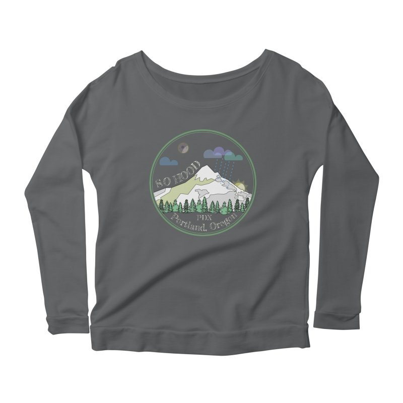 Mt. Hood [Night, transparent background, light text] Women's Longsleeve Scoopneck  by Northern Limit