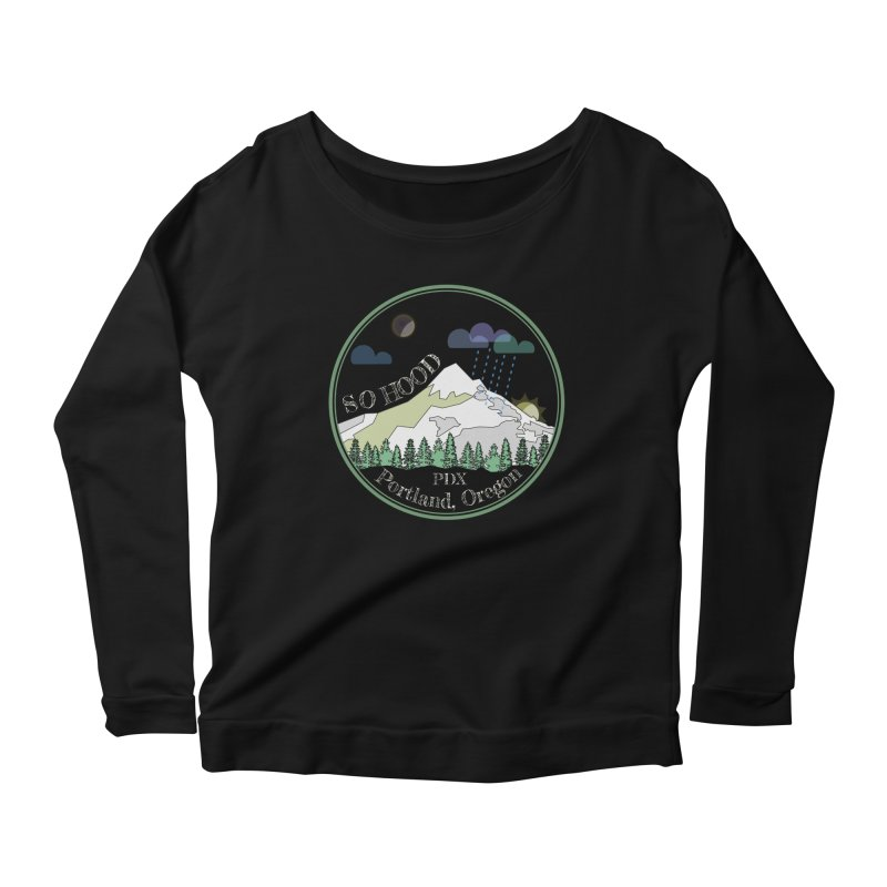 Mt. Hood [Night, transparent background, light text] Women's Scoop Neck Longsleeve T-Shirt by Northern Limit