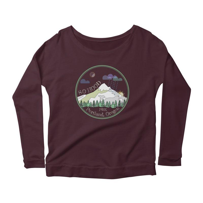 Mt. Hood [Night, transparent background, light text] Women's Scoop Neck Longsleeve T-Shirt by Northern Limit