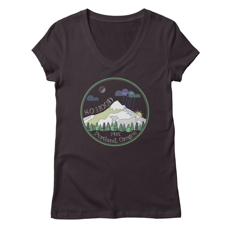 Mt. Hood [Night, transparent background, light text] Women's V-Neck by Northern Limit