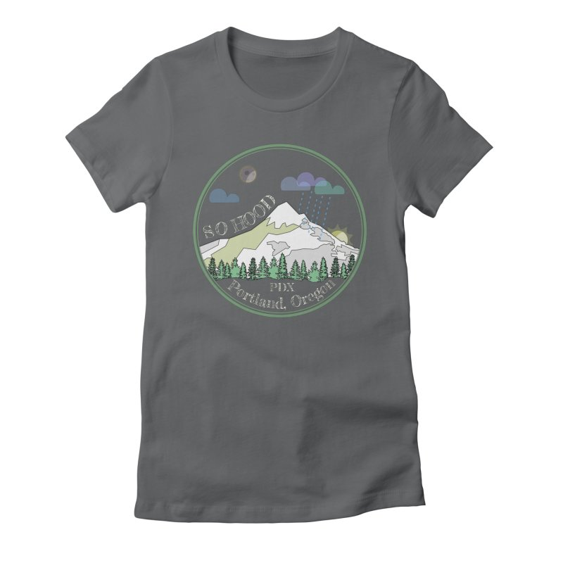 Mt. Hood [Night, transparent background, light text] Women's Fitted T-Shirt by Northern Limit