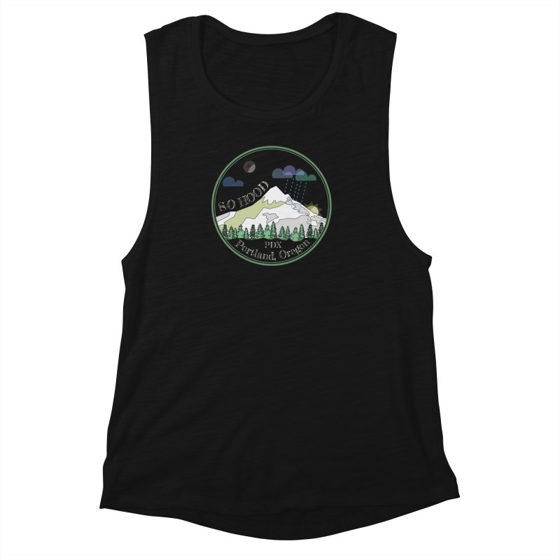 Mt. Hood [Night, transparent background, light text] Women's Muscle Tank by Northern Limit
