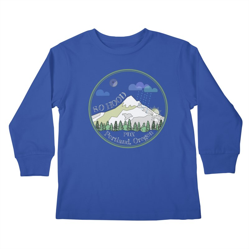 Mt. Hood [Night, transparent background, light text] Kids Longsleeve T-Shirt by Northern Limit