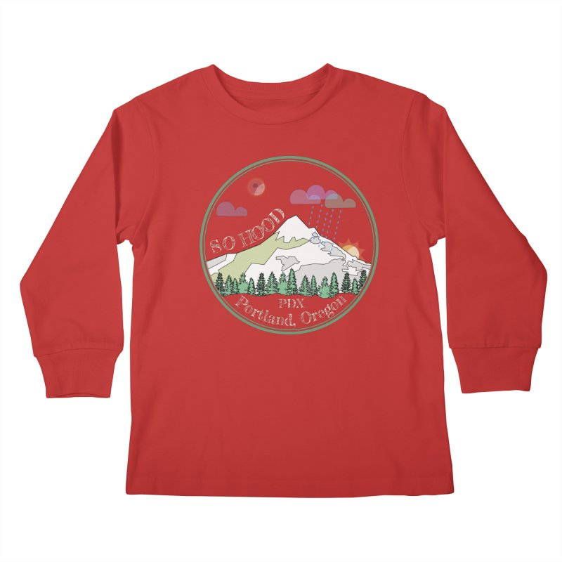 Mt. Hood [Night, transparent background, light text] Kids Longsleeve T-Shirt by Northern Limit