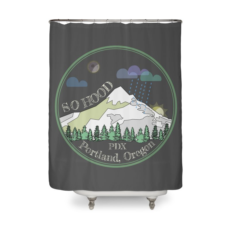 Mt. Hood [Night, transparent background, light text] Home Shower Curtain by Northern Limit