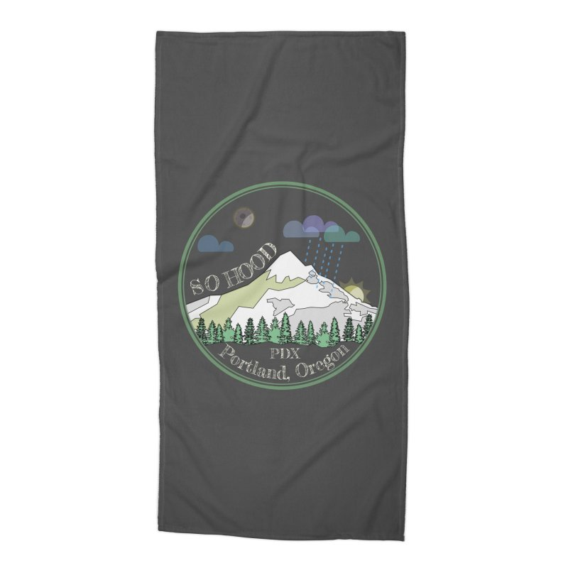 Mt. Hood [Night, transparent background, light text] Accessories Beach Towel by Northern Limit