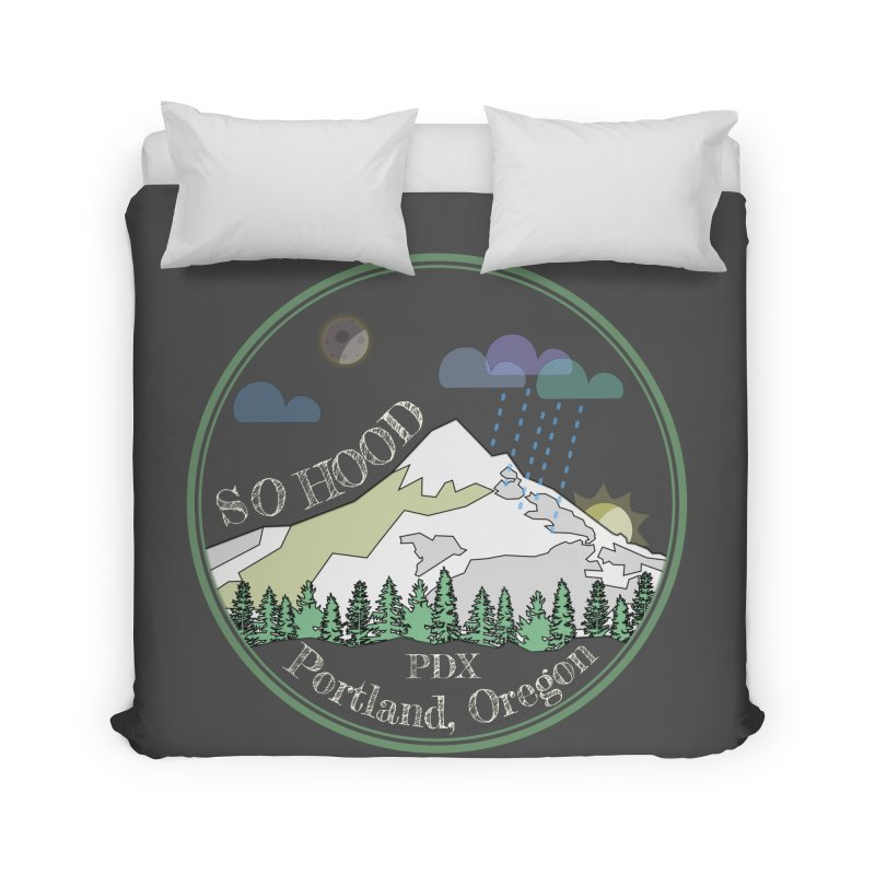 Mt. Hood [Night, transparent background, light text] Home Duvet by Northern Limit