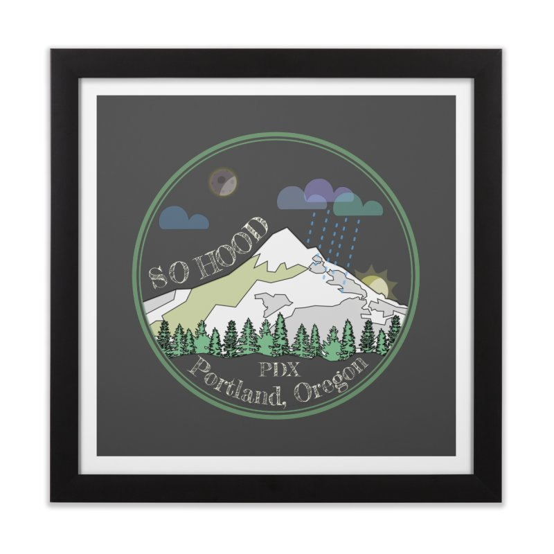 Mt. Hood [Night, transparent background, light text] Home Framed Fine Art Print by Northern Limit