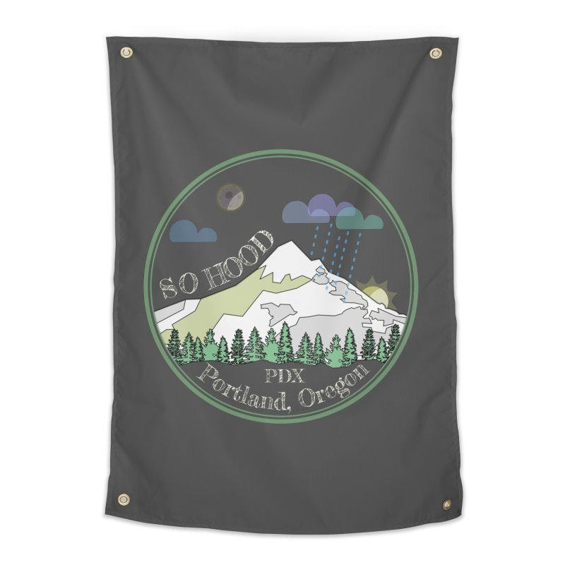 Mt. Hood [Night, transparent background, light text] Home Tapestry by Northern Limit