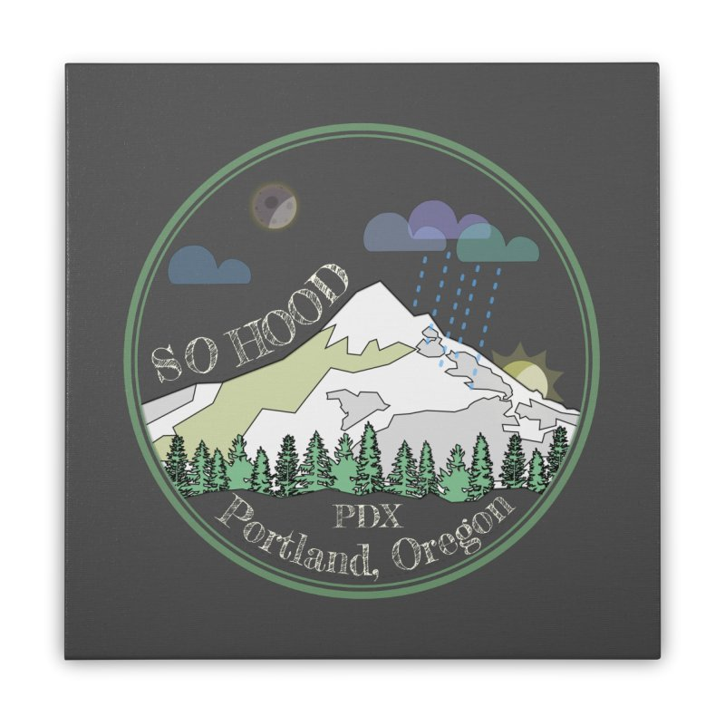 Mt. Hood [Night, transparent background, light text] Home Stretched Canvas by Northern Limit