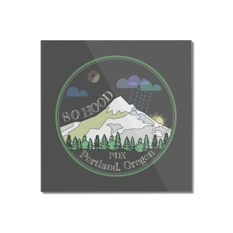 Mt. Hood [Night, transparent background, light text] Home Mounted Acrylic Print by Northern Limit