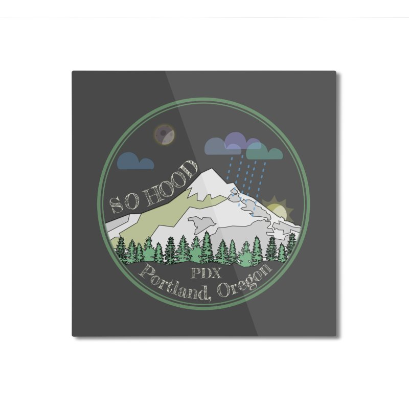 Mt. Hood [Night, transparent background, light text] Home Mounted Aluminum Print by Northern Limit