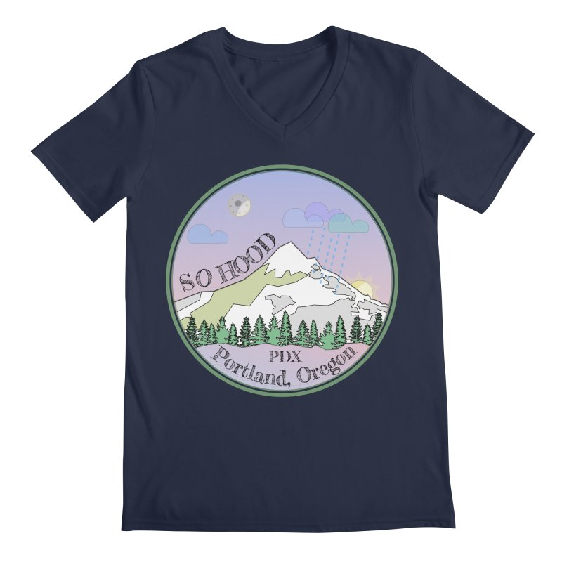 Mt. Hood [Night] Men's V-Neck by Northern Limit