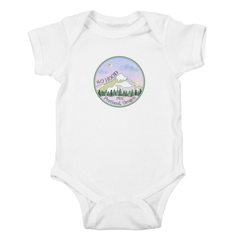 Mt. Hood [Night] Kids Baby Bodysuit by Northern Limit