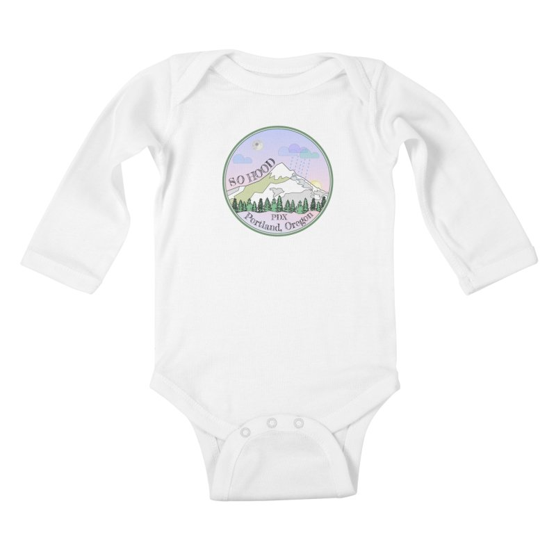 Mt. Hood [Night] Kids Baby Longsleeve Bodysuit by Northern Limit