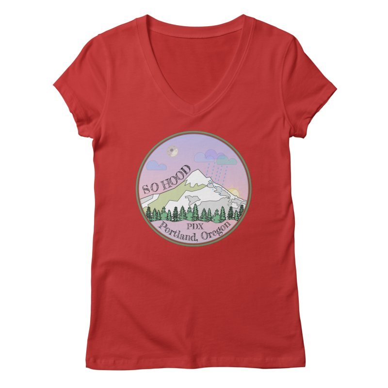 Mt. Hood [Night] Women's Regular V-Neck by Northern Limit