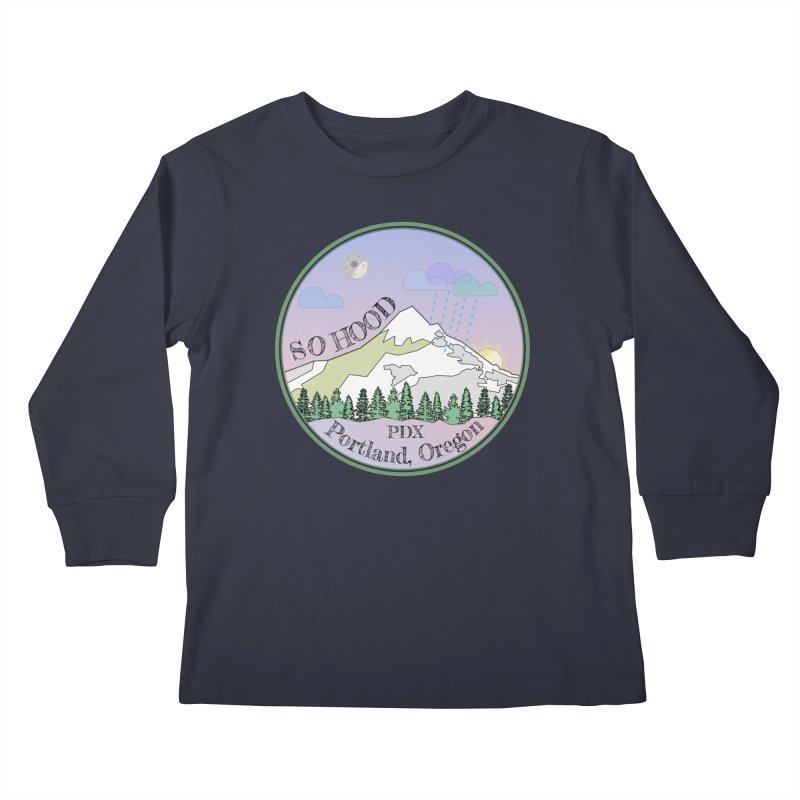 Mt. Hood [Night] Kids Longsleeve T-Shirt by Northern Limit