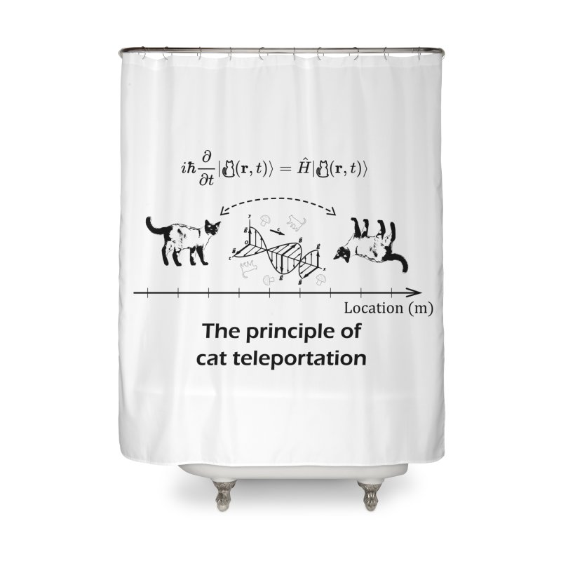 The Principle of Cat Teleportation Home Shower Curtain by Northern Limit