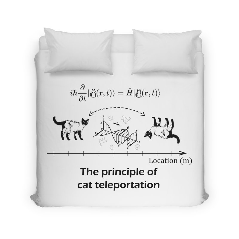 The Principle of Cat Teleportation Home Duvet by Northern Limit