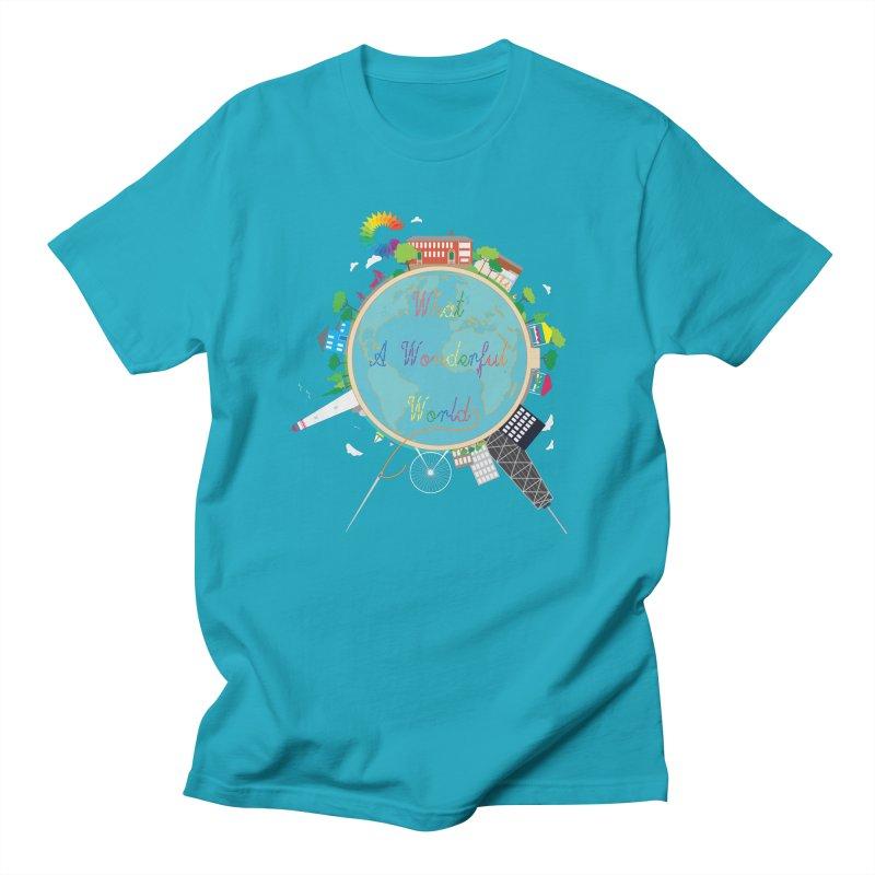 What A Wonderful World in Men's T-Shirt Cyan by Chiaravalle Montessori Spirit Shop