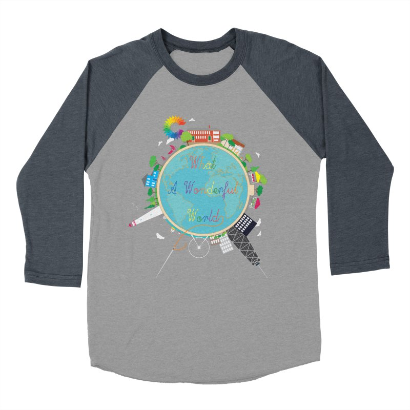 What A Wonderful World Men's Baseball Triblend T-Shirt by Chiaravalle Montessori Spirit Shop