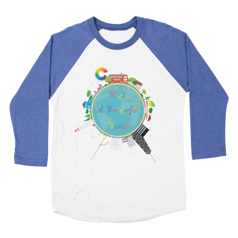 What A Wonderful World Men's Baseball Triblend T-Shirt by Chiaravalle Montessori Spirit Shop