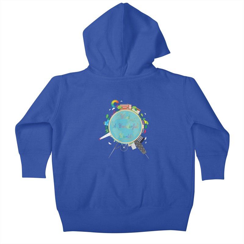What A Wonderful World Kids Baby Zip-Up Hoody by Chiaravalle Montessori Spirit Shop