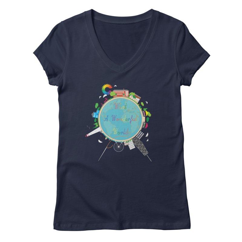 What A Wonderful World Women's V-Neck by Chiaravalle Montessori Spirit Shop