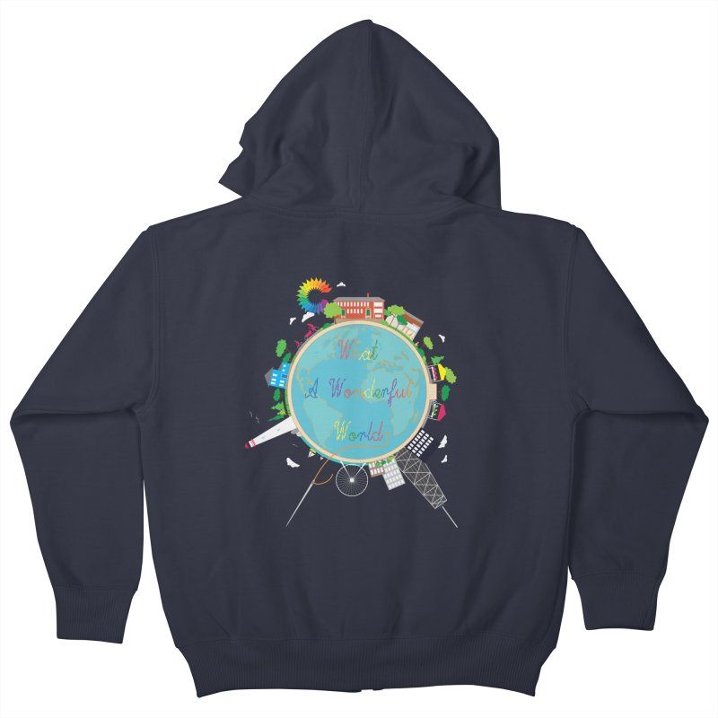 What A Wonderful World in Kids Zip-Up Hoody Midnight by Chiaravalle Montessori Spirit Shop