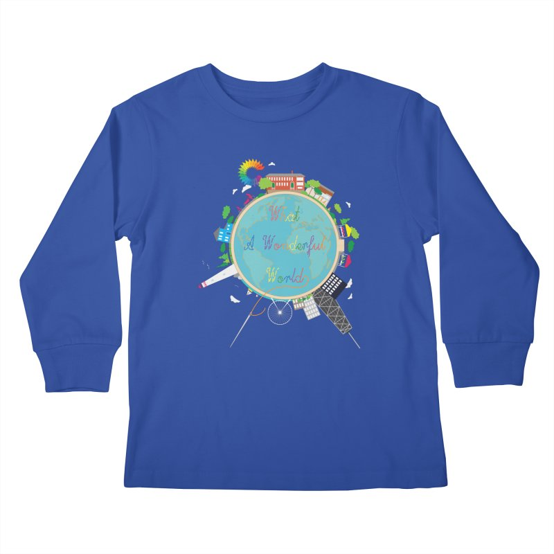 What A Wonderful World Kids Longsleeve T-Shirt by Chiaravalle Montessori Spirit Shop
