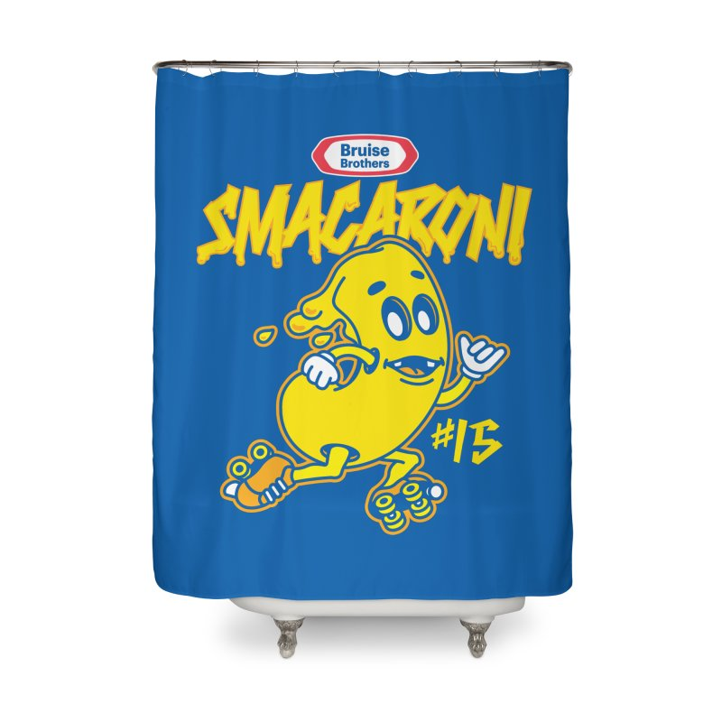 Skater Series: Smacaroni Home Shower Curtain by Chicago Bruise Brothers Roller Derby