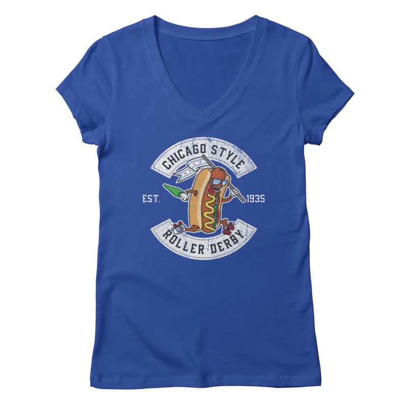 Chicago Style Derby Women's Regular V-Neck by Chicago Bruise Brothers Roller Derby