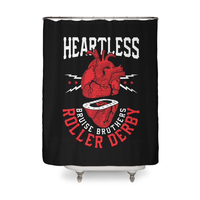 Skater Series: Heartless Home Shower Curtain by Chicago Bruise Brothers Roller Derby
