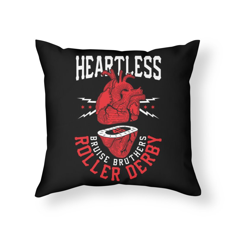Skater Series: Heartless Home Throw Pillow by Chicago Bruise Brothers Roller Derby