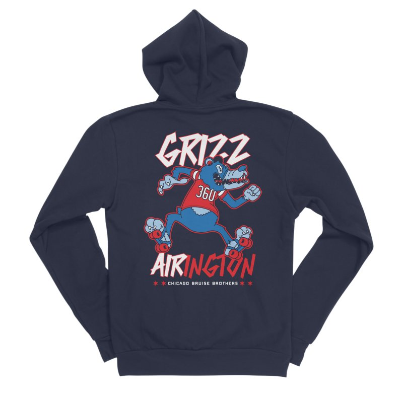 Skater Series: Grizz AIRington Men's Sponge Fleece Zip-Up Hoody by Chicago Bruise Brothers Roller Derby